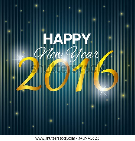 Happy new year 2016 graphic design, vector illustration #340941623