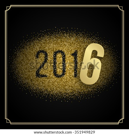 Happy New Year 2016 Greeting card and Golden Sparkles Confetti. Good for Party Poster, Banner or Invitation Design. Numbers 2016, New Year 2016, Happy New Year Vector. Vector Background.  #351949829