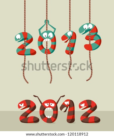 Happy New year 2013 greeting card background. Vector illustration layered for easy manipulation and custom coloring. - stock vector