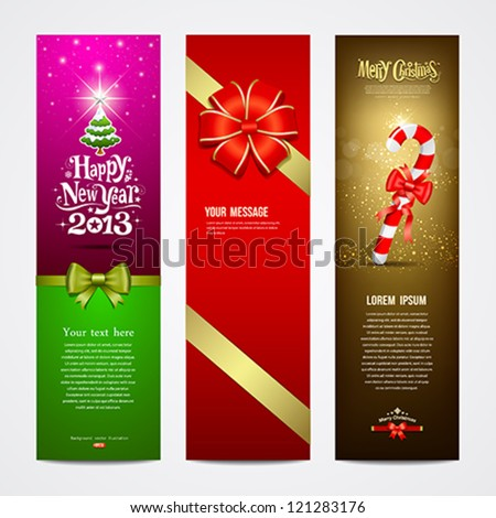 Happy New Year 2013 Greeting Card banner design collections, vector illustration