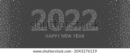 Happy New Year 2022 greeting card. Big numbers, letters, characters made of hand drawn uneven dots, spots, dot snowflakes, beads, blobs. Snow typographic composition, dotted winter borders.