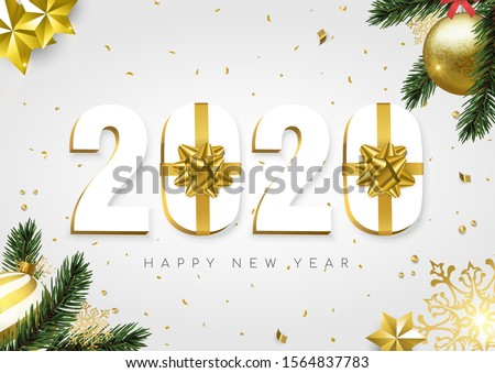 Happy New Year greeting card, 3d 2020 number sign with gold gift box ribbon. Confetti, bauble ornaments and pine tree leaf on white background.