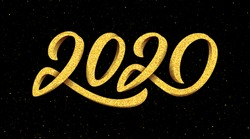 Happy New Year 2020 greeting card design with gold 3D typography on black background with glitters. Calligraphy for Chinese Year of the Rat. Vector illustration