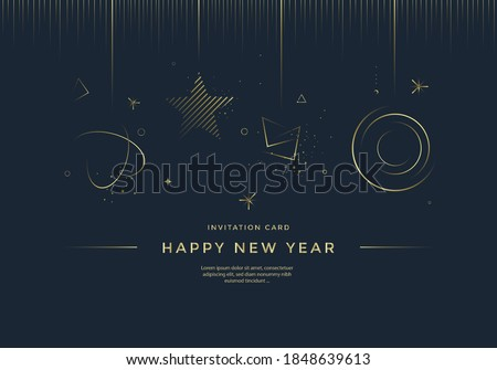Happy New Year greeting card design with stylized gold toys, and decoration on dark background. Merry Christmas Golden line illustration