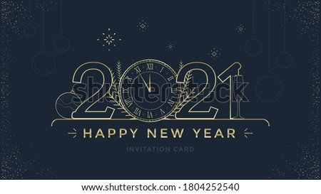 Happy New Year 2021 greeting card design with stylized Golden clock and decoration on dark background. Merry Christmas golden line illustration.