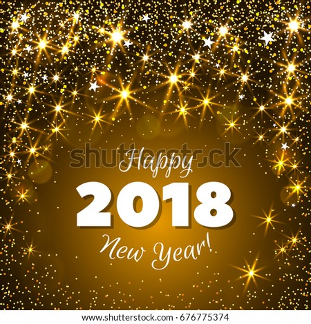 happy new year 2018 greeting card festive illustration with colorful confetti party popper and sparkles ez canvas