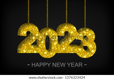 Happy New Year 2023 - greeting card, flyer, invitation - vector illustration