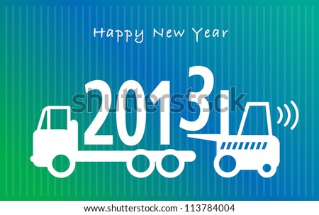 Happy New Year greeting card - fork lift truck at work, vector illustration