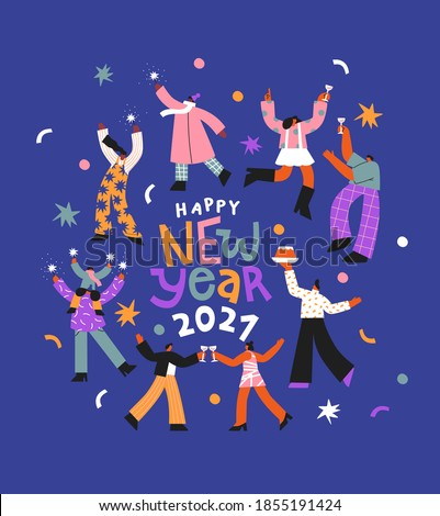 Happy New Year 2021 greeting card illustration. Diverse people dancing and doing fun party activity. Big friend group together, flat cartoon holiday celebration design.