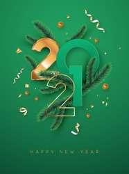 Happy New Year 2021 greeting card illustration. Luxury 3d gold number date sign on green background with golden party confetti and christmas pine tree branch. Elegant holiday event invitation design.