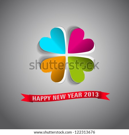 Happy New year 2013 greeting card in paper style - hear fourleaf - vector illustration