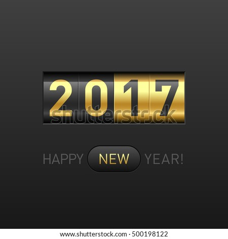 Happy New Year 2017 greeting card. Odometer style, counter. Vector illustration.