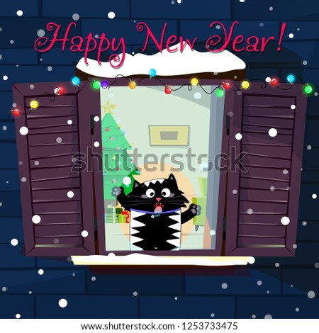Happy new year greeting card of cute funny cartoon cat character catching snow flakes with tongue on decorated window with garland, fir tree in room. Vector holiday illustration, festive lettering,