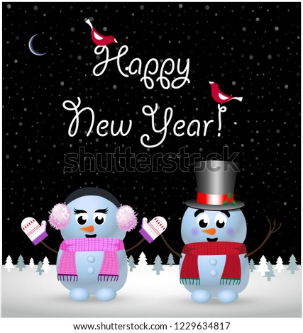 Happy new year greeting card of cute little baby snowman and snowgirl holding hands on winter snowy night landscape background and hand drawn lettering typography. Vector illustration, postcard #1229634817