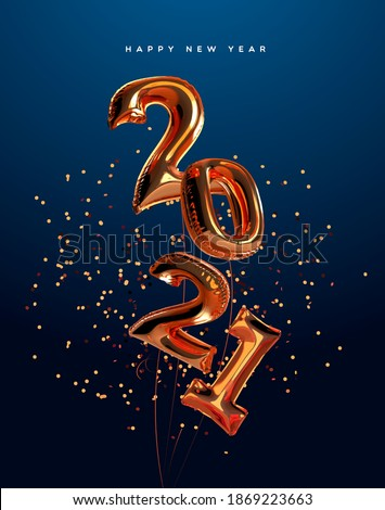 Happy New Year 2021 greeting card of realistic 3d copper foil balloon number on elegant party confetti background. Mylar balloons typography quote sign for holiday eve invitation or season event.
