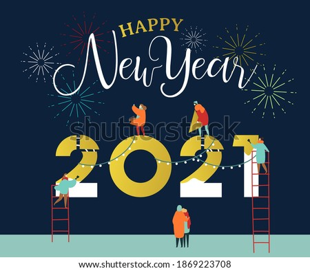 Happy New Year 2021 greeting card of young people team working together making big calendar date number sign with party fireworks. Friend group or family holiday help concept.