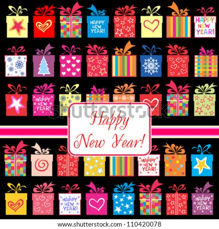 Happy New Year greeting card or background. Vector illustration