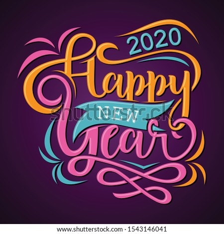 Happy New Year 2020 greeting card or background. Vector letter Happy New Year for element design. Vector illustration EPS.8 EPS.10
