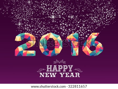 happy new year greeting card or poster design with colorful triangle 2015 shape and vintage label