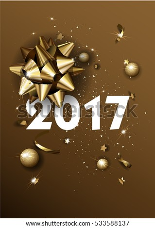 Happy New Year 2017 greeting card or poster template flyer or invitation design. Beautiful luxury holiday background with 3D golden gift bow. Vector Illustration. #533588137