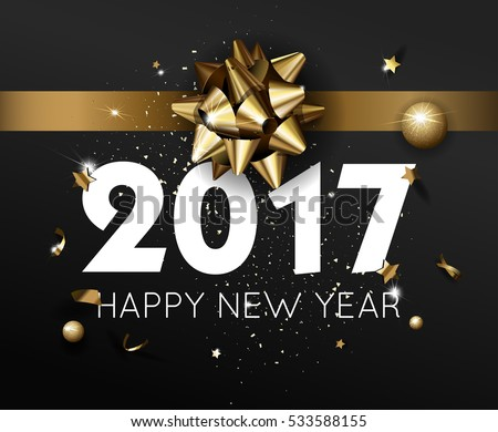 Happy New Year 2017 greeting card or poster template flyer or invitation design. Beautiful luxury holiday background with 3D golden gift bow. Vector Illustration. #533588155
