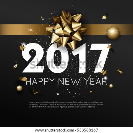 Happy New Year 2017 greeting card or poster template flyer or invitation design. Beautiful luxury holiday background with 3D golden gift bow. Vector Illustration. #533588167