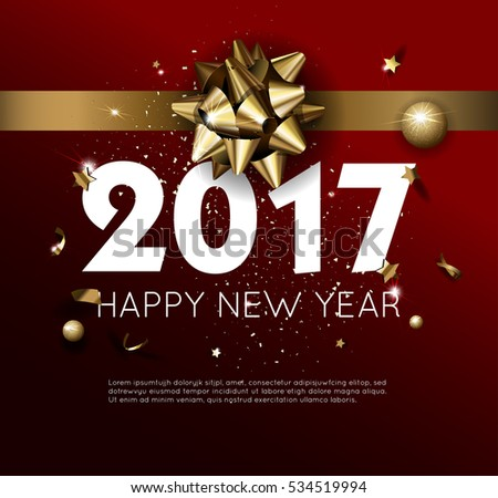 Happy New Year 2017 greeting card or poster template flyer or invitation design. Beautiful luxury holiday background with 3D golden gift bow. Vector Illustration. #534519994