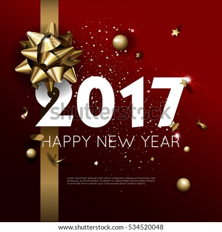 Happy New Year 2017 greeting card or poster template flyer or invitation design. Beautiful luxury holiday background with 3D golden gift bow. Vector Illustration. #534520048