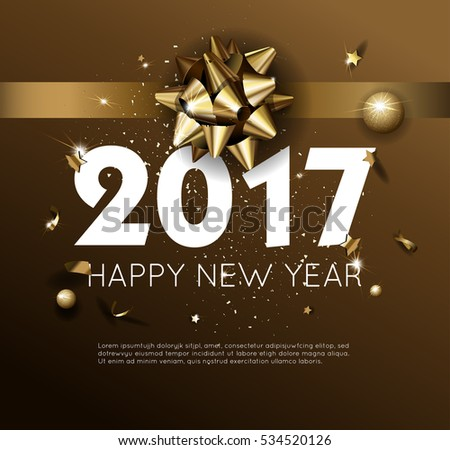 Happy New Year 2017 greeting card or poster template flyer or invitation design. Beautiful luxury holiday background with 3D golden gift bow. Vector Illustration. #534520126
