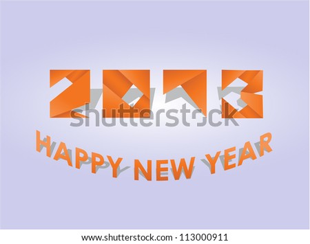Happy new year 2013  greeting card - origami style - stock vector