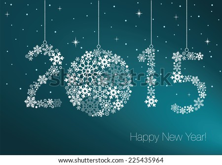 Happy New Year 2015 greeting card.  Snowflake background