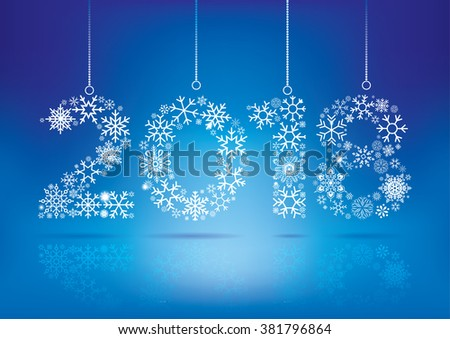 happy new year 2018 greeting card snowflake background
