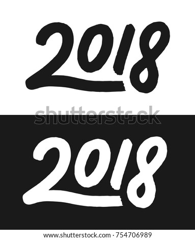 Happy New Year 2018 Greeting Card Template Calligraphic Number With Smooth Contour On Black And White Backgrounds For Chinese Of The Dog