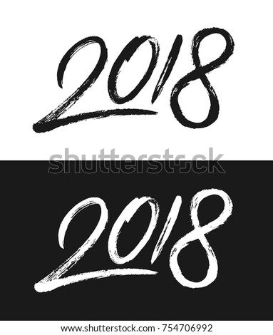 happy new year 2018 greeting card template hand drawn calligraphic number 2018 with rough contour