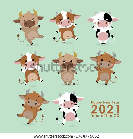 Happy new year 2021 greeting card. The year of the ox. Cute cow and bull cartoon character. -Vector
