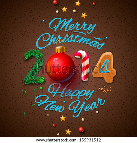 Happy New Year 2014 Greeting Card, vector illustration.