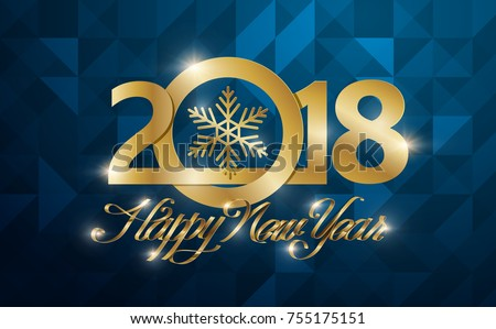 happy new 2018 year greeting card vector illustrationwallpaper