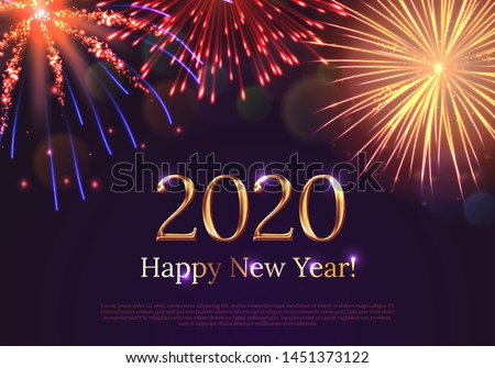 Happy new year 2020 greeting card with bursting fireworks series. Celebratory template with realistic dazzling display of fireworks on dark background vector illustration. Winter holiday festival show