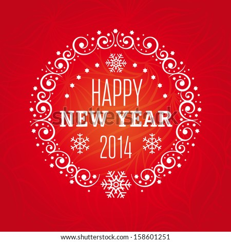 Happy 2014 new year greeting card with decorative frame snowflakes happy 2014 new year greeting card with decorative frame snowflakes and seamless background pattern m4hsunfo