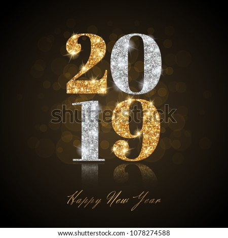 Happy New Year 2019 Greeting Card with Gold and Silver Numbers on Black Background. Vector Illustration. Merry Christmas Flyer or Poster Design