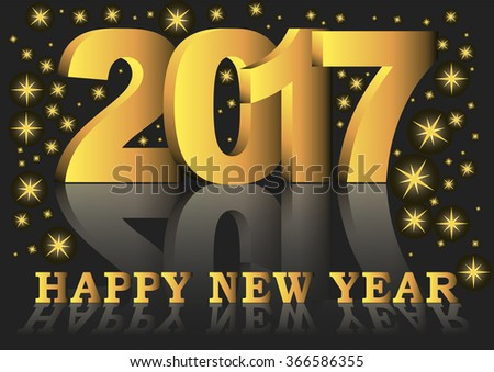 Happy new year 2017 greeting card with golden numbers and letters #366586355