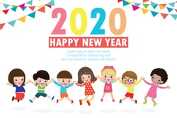 Happy New Year 2020 greeting card with group kids jumping, happy children with Happy new year, Colorful background Vector Illustration