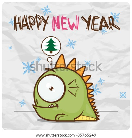 stock vector : Happy new year greeting card with little cartoon monster on a paper-background. Vector illustration.