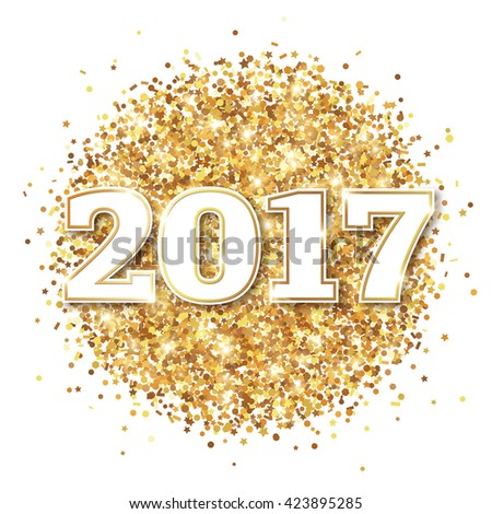Happy New Year 2017 Greeting Card with Numbers on White Background. Vector Illustration. Merry Christmas Design. Golden Dust Explosion. Gold Firework #423895285