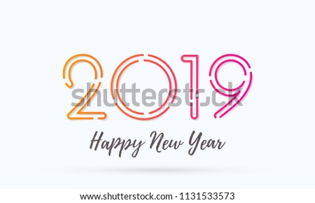 Happy New Year 2019 Greeting Card With Numbers Vector Calligraphy Lettering Text For Christmas Holiday Celebration White Background