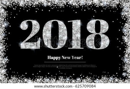 Happy New Year 2018 Greeting Card with Silver Numbers on Black Background. Vector Illustration. Merry Christmas Flyer Design, Brochure Cover, Poster, Minimalistic Invitation #625709084