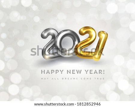 Happy New Year 2021 greeting card with wish text. Holiday vector illustration of golden metallic numbers 2021 on white background with bokeh. Realistic 3d silver and gold sign. Festive banner design