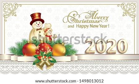 Happy New Year 2020. Greeting Christmas card with snowmen and Christmas balls on background of snowflakes in frame with ornament and decorative ribbon, vector design