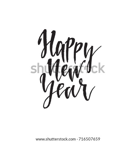 Happy new Year. Hand drawn lettering quote. Vector illustration ...