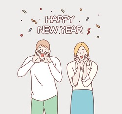 Happy new year. Hand drawn style vector design illustrations.